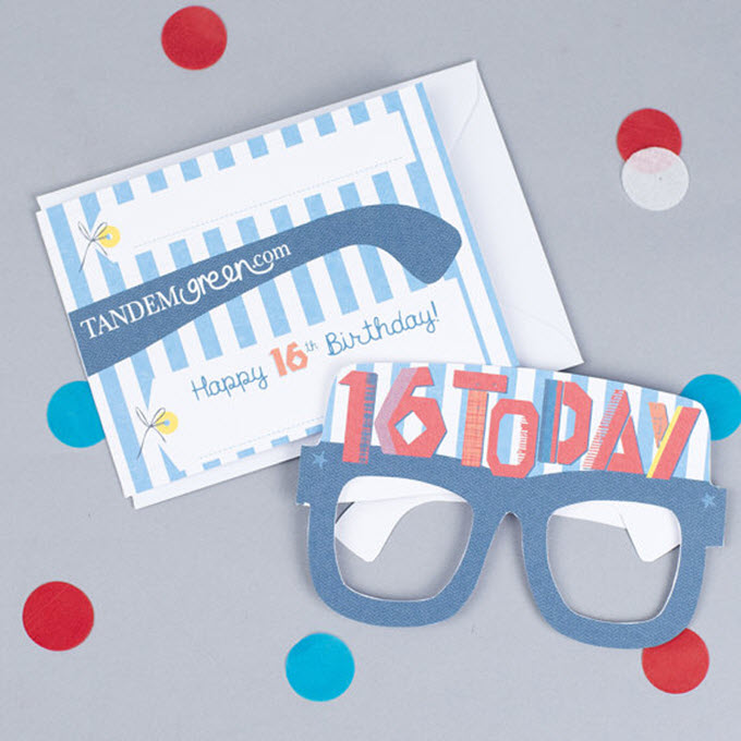 Glasses For Boys 16th Birthday Card