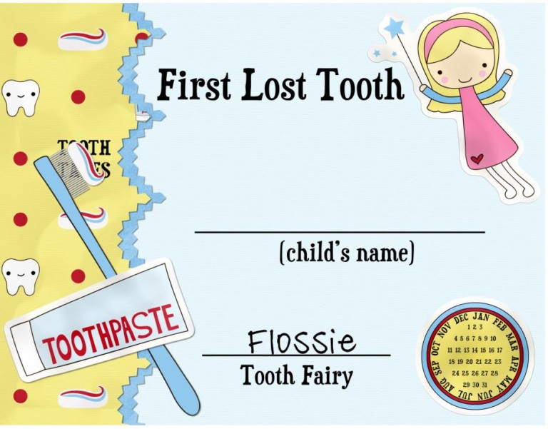 First Lost Tooth Certificate Free Printable