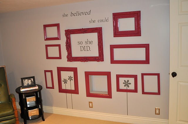 I Love How These Red Empty Frames Pop In This Darling Craft Room From I Am  Mama. Whatu0027s Really Cool, Is That The Bottom Middle Frame Is Actually A  WINDOW ...