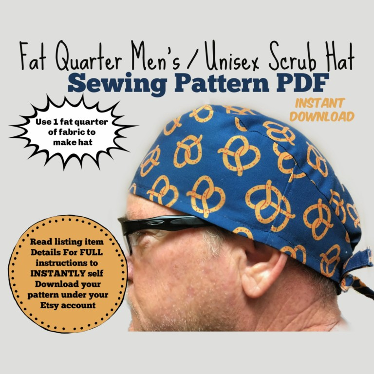 Fat Quarter Men's Unisex Tieback Scrub Cap