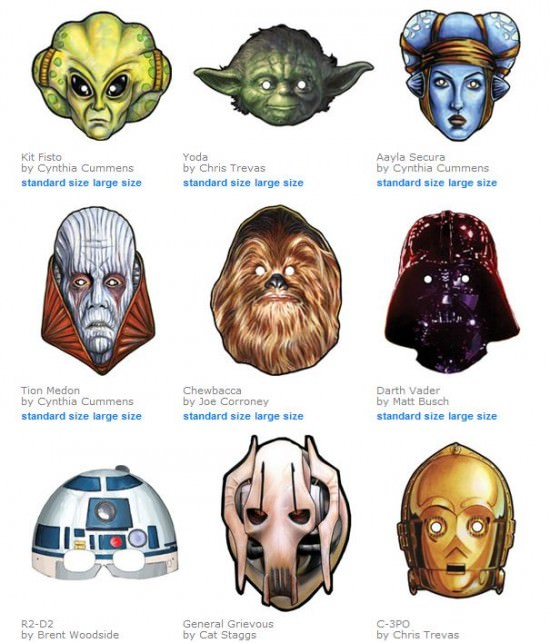 Star Wars Halloween Mask Printables