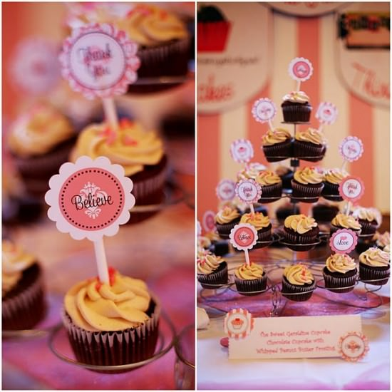 Free Printable Cupcake toppers Pink Ribbon Party Circles