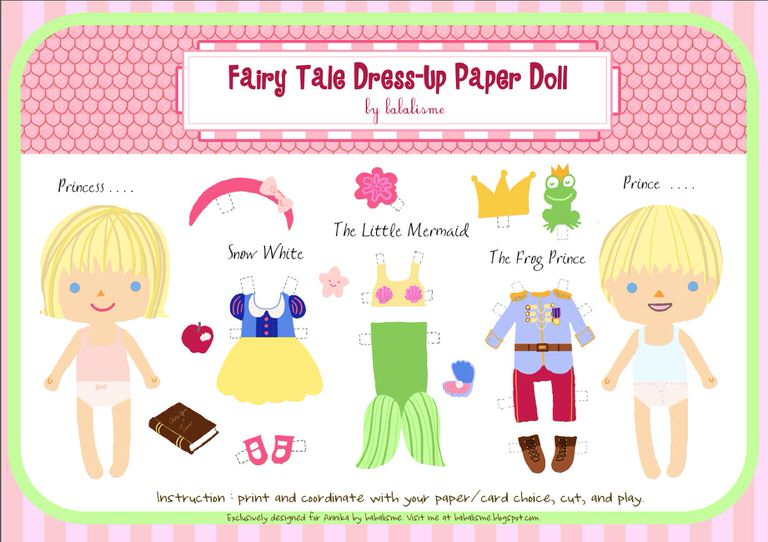 fairy tale paper doll printable
