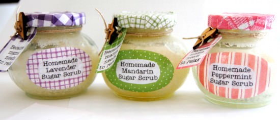 Homemade Sugar Scrub in Decorated Jars