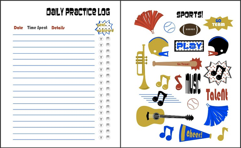 graphic about Printable Music Practice Log identify Sports activities Audio Train Internet pages 5 Free of charge Printables Idea Junkie