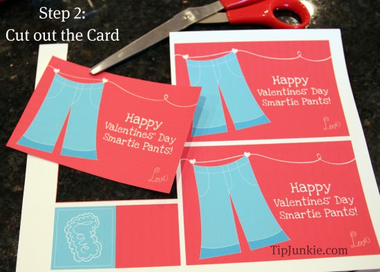 Cut out the Valentine card.