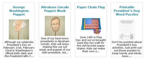 Eight Presidents Day Crafts from FreeKidsCrafts.com