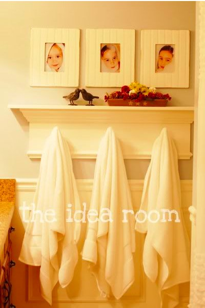 DIY bath shelf with towel hooks