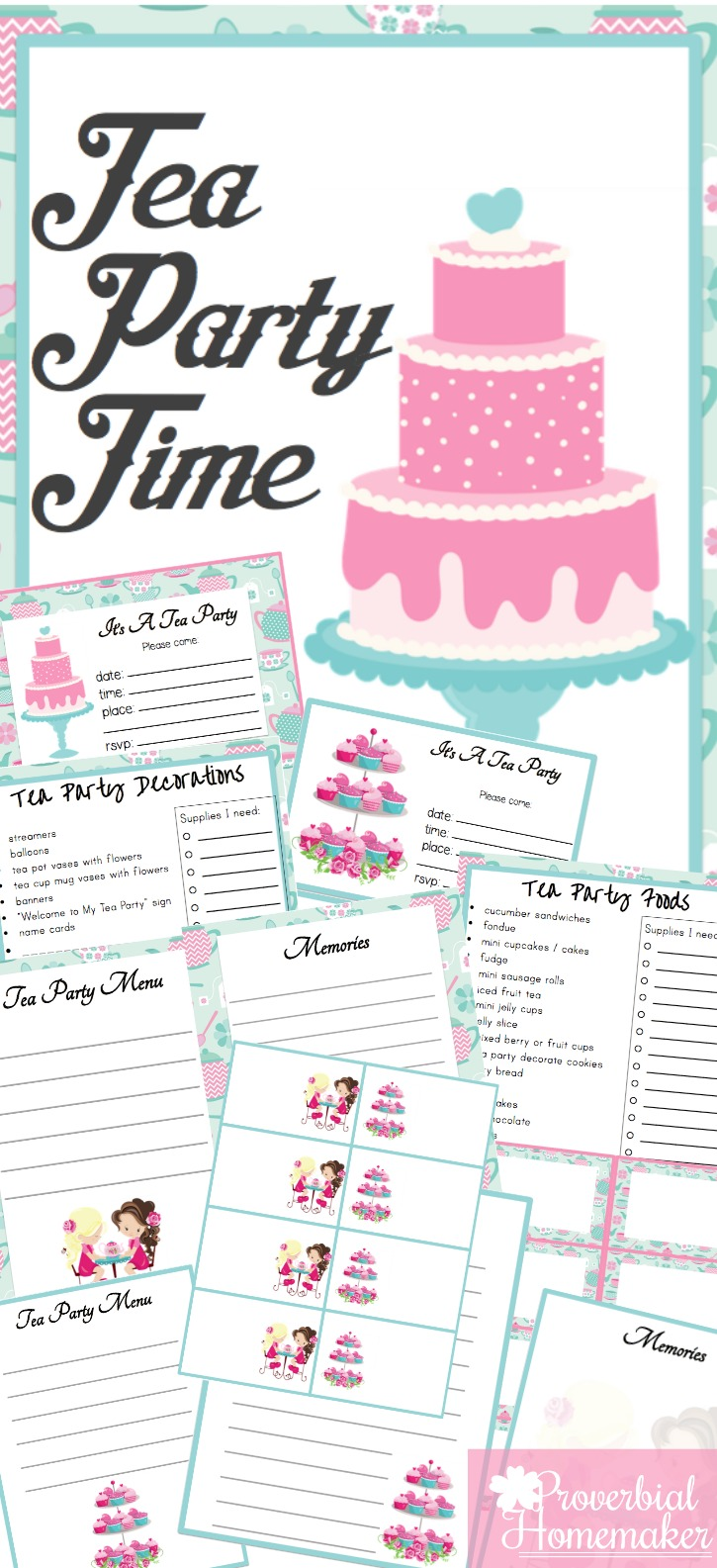 Tea Party Printable Pack with Food Menu