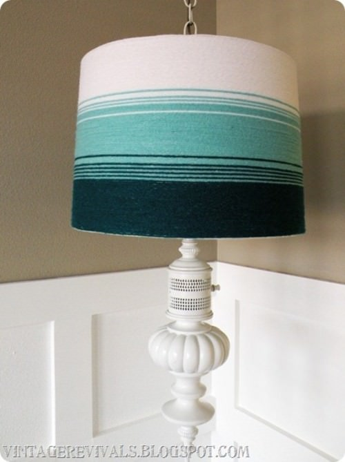 DIY Yarn Ombre Lamp Shade Tutorial