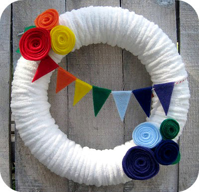 Flag Bunting Rainbow Yarn Wreath