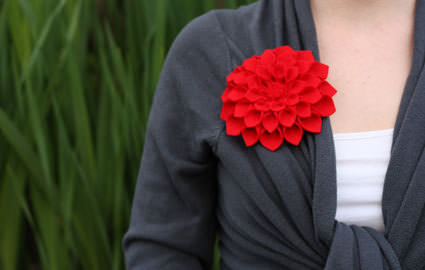 DIY Mother's Day Corsage: Felt Dahlia Flower Brooch