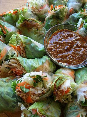 spring rolls with spicy sauce