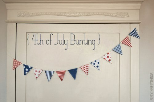 Free Printable Red, White, & Blue Bunting & Mini Flags