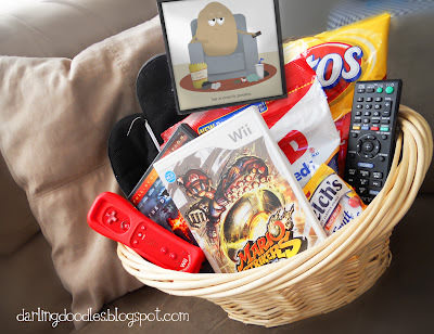 Couch Potato Gift Basket {free printable