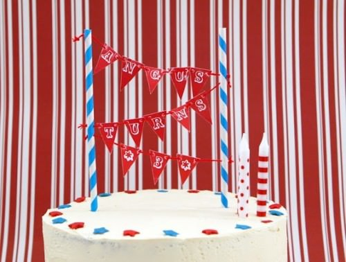 Printable Red, White, and Blue Cake Bunting