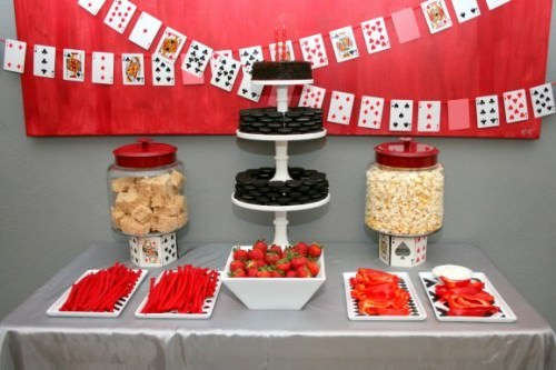 Poker Night Aces Up For This Red And Black Themed Party Theres A Fun Banner Using Deck Of Cards Also Mobile With Playing