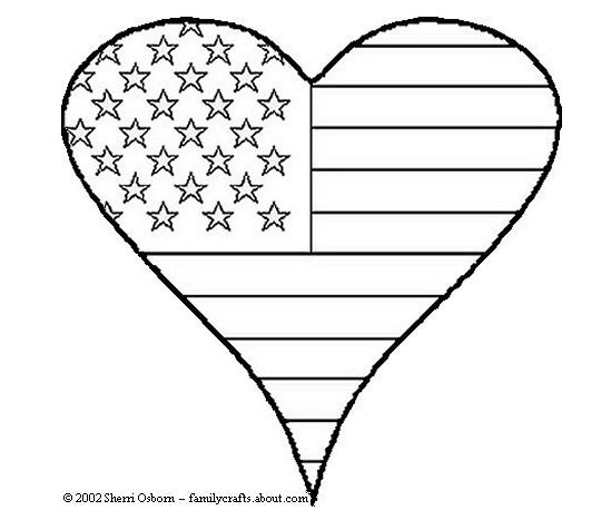 Patriotic Heart Coloring Sheet Let Your Kids Show Their Love For The Red White And Blue With This Page