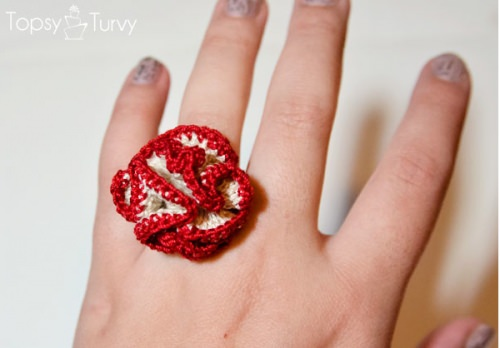 Thread Crochet Rose Ring Pattern