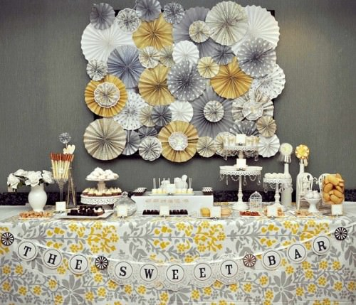 Romantic Yellow Gray Dessert Table