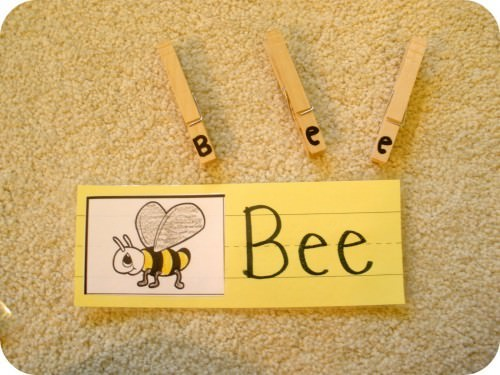 Bug Spelling Word Clothespin Activity