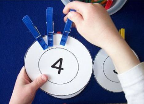 Clothespin Counting with Printable Wheels