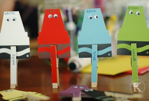 Paint Chip Matching Game with Clothespins