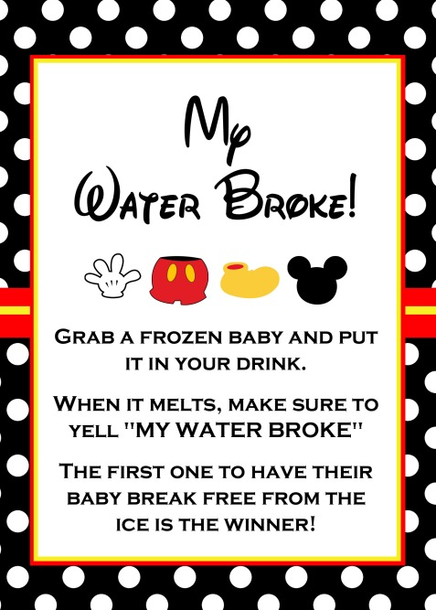 My Water Broke Baby Shower Game By Magical Printable Is A Funny Game Where  Guests Are Given A Frozen Baby Ice Cube To Place Inside Their Drink.