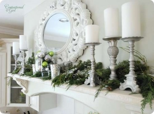 White and Silver Winter Mantel