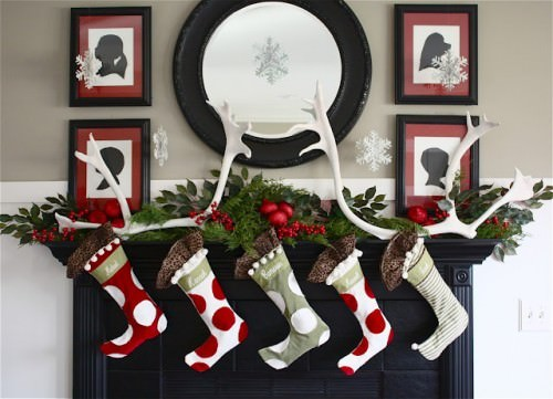 Antler and Silhouette Christmas Fireplace