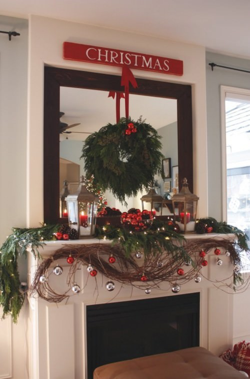 Grapevine and Ornament Christmas Mantel Ideas
