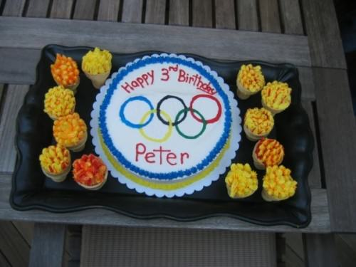 Olympic Flame Cupcakes and Olympic Ring Cake