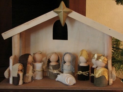 Wooden Doll Nativity