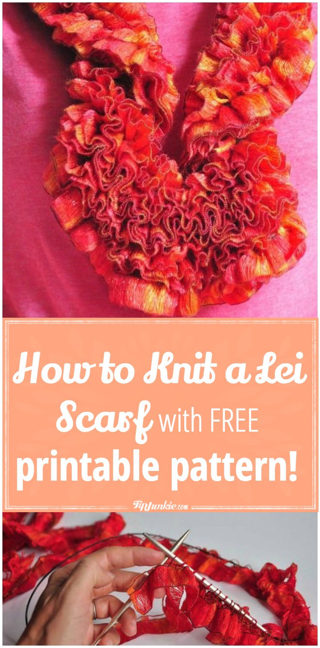 How to Knit a Lei Scarf with FREE printable pattern!