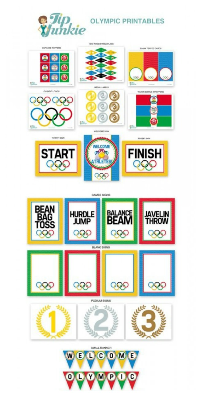 Olympic Games Printable Party Decor From Tip Junkie Free - Olympic party invitation template