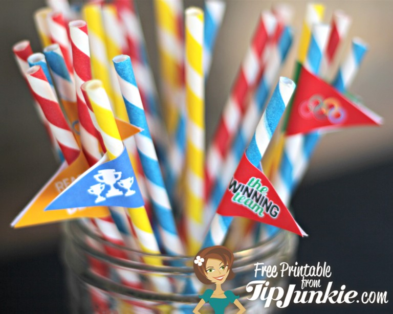 Free Printable Olympic Mini Food Flags from Tip Junkie