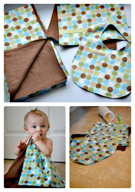 Sew a blanket, bib and burp cloth set