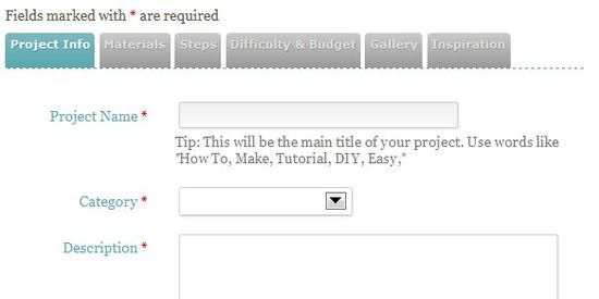 You'll name your project, add a category, and a long description.