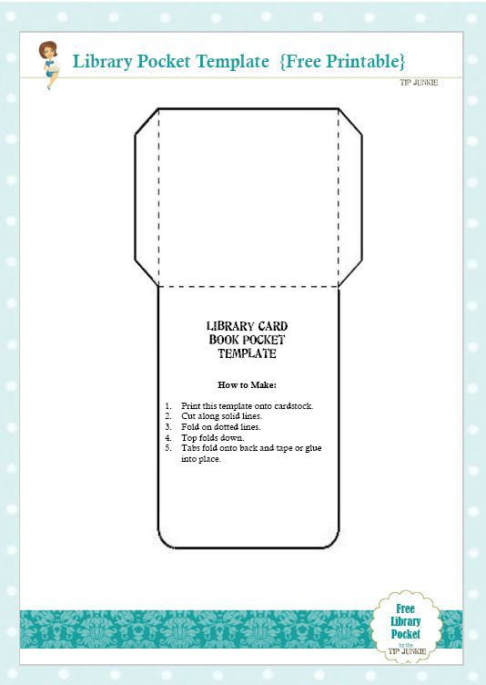 Free library card book pocket template printable tip junkie pronofoot35fo Gallery