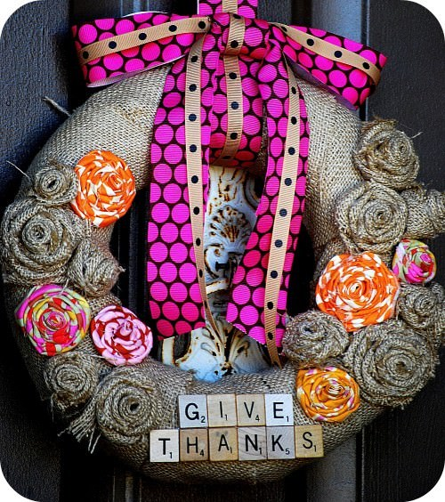 Give Thanks Scrabble Wreath