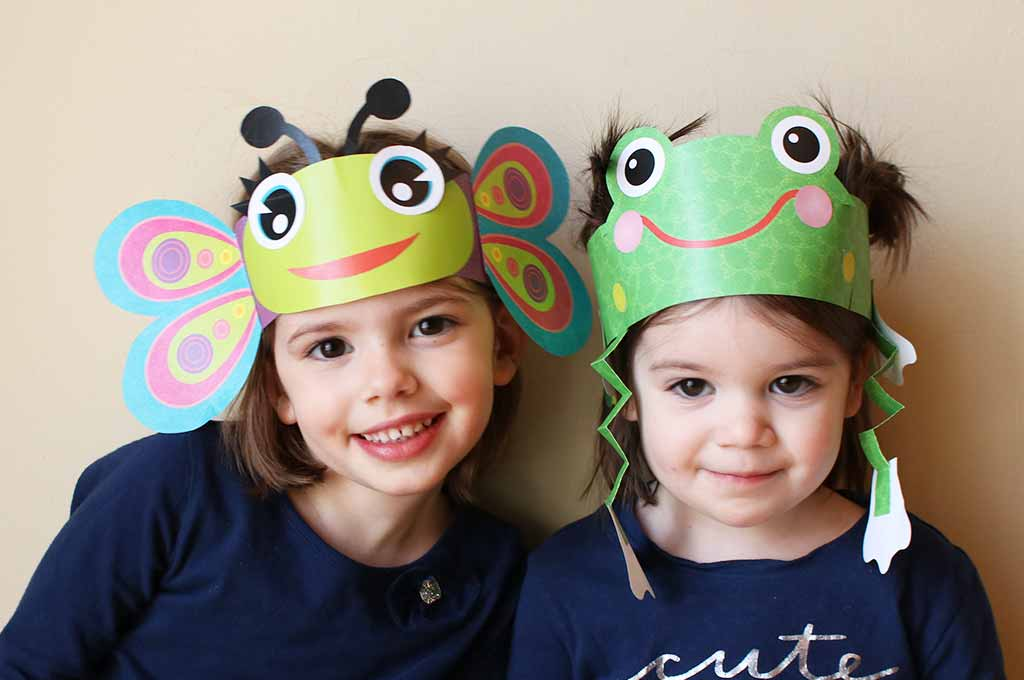 Free Frog Hat and Butterfly Paper Hat Printables
