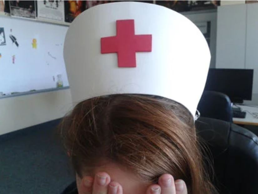 It's just a graphic of Playful Printable Nurse Hat Template