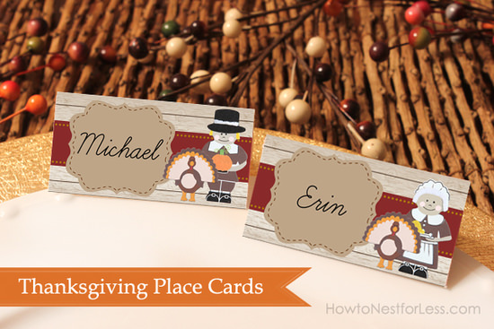 Thanksgiving place cards free printable