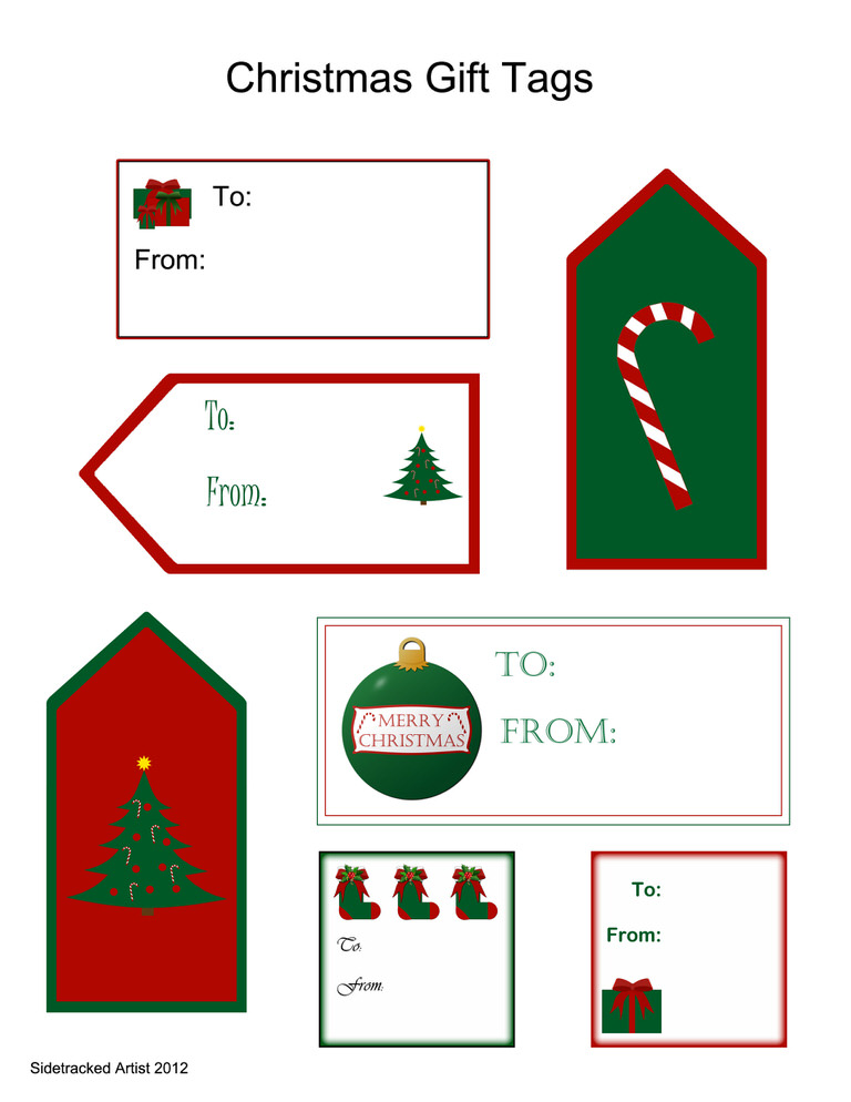 Christmas Gift Tags from Sidetracked Artist