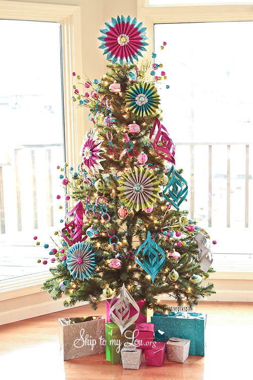 Wrapping Paper Ornaments Christmas Tree