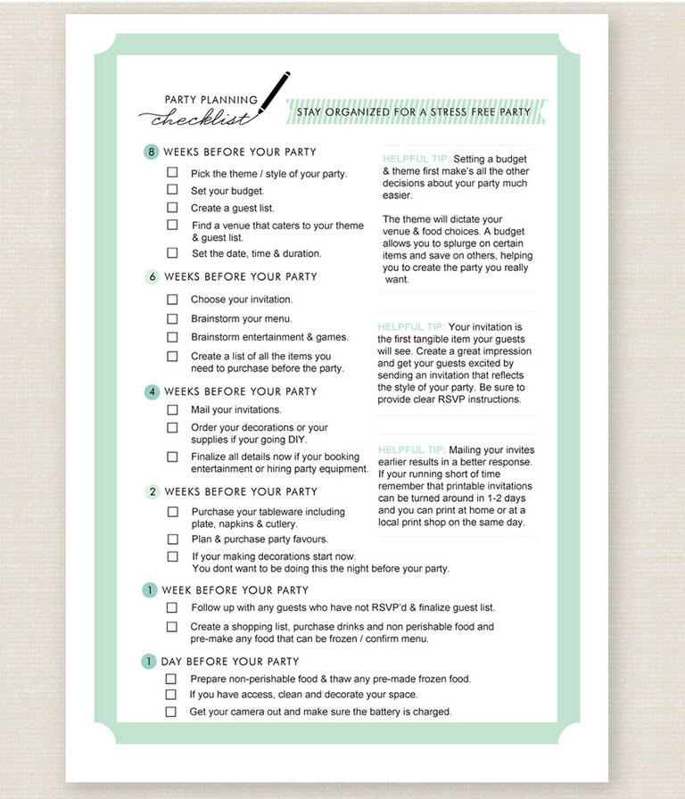 11 free printable party planner checklists tip junkie. Black Bedroom Furniture Sets. Home Design Ideas