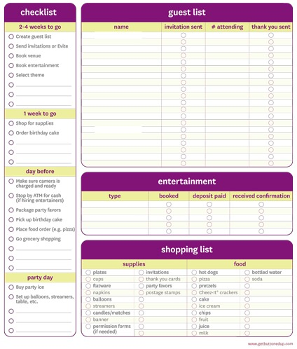 11 Free Printable Party Planner Checklists | Tip Junkie