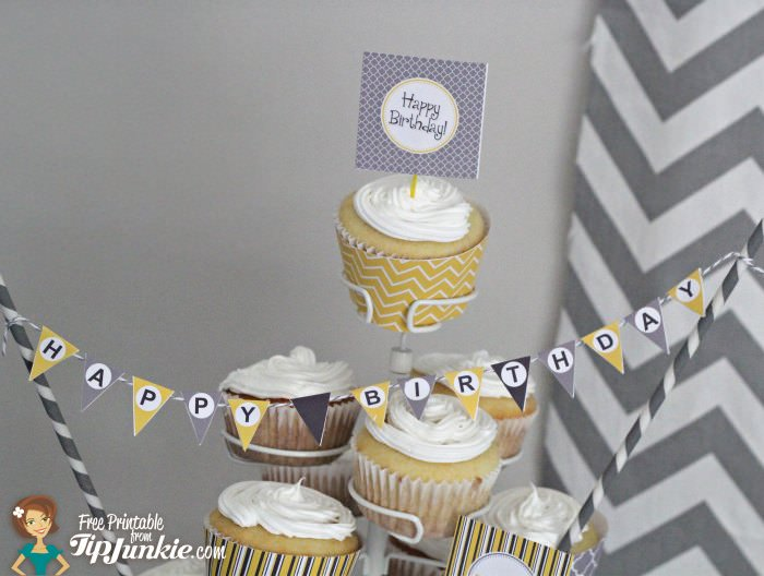 TJ Party Printable cake pennant
