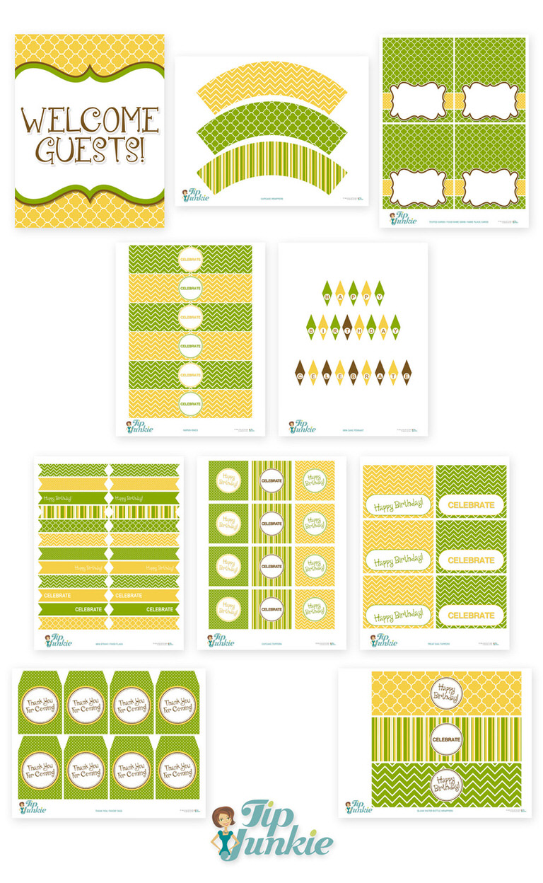 green and yellow birthday printables