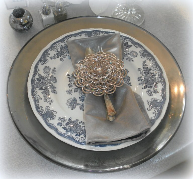 mercury glass  place setting